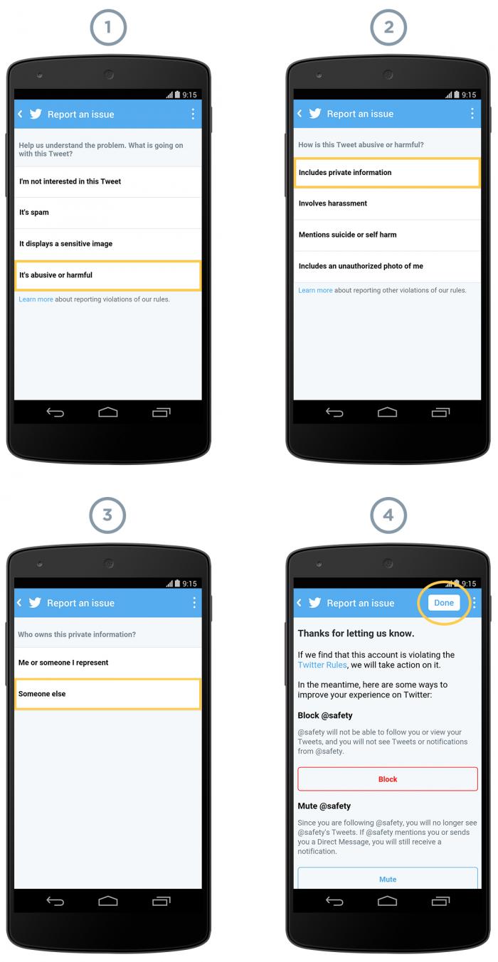 Proceso de aviso de uso abusivo en Twitter
