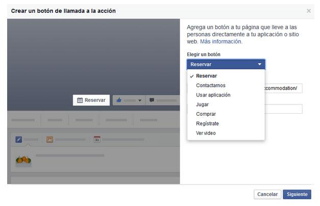 Como crear un botón de llamada a la acción en Facebook