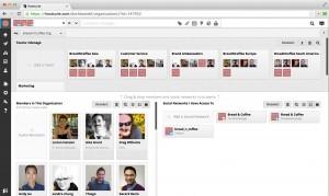 Panel de gestión de equipos y miembros de la organizacion de Hootsuite