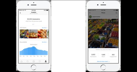 Información demográfica y de comportamiento de los perfiles de Instagram