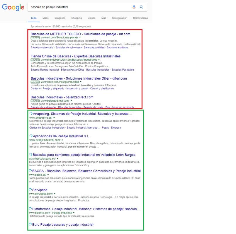 resultados de google con seo y sem para la palabra clave basculas de pesaje industrial