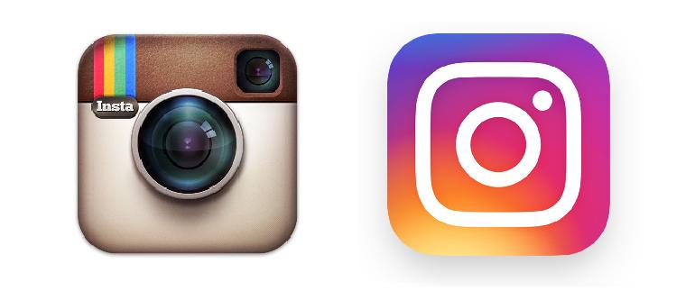 Antes y después del logo de Instagram